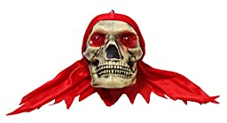 JustNile Scary Halloween Color-Changing Hanging Skull - Red Bandana