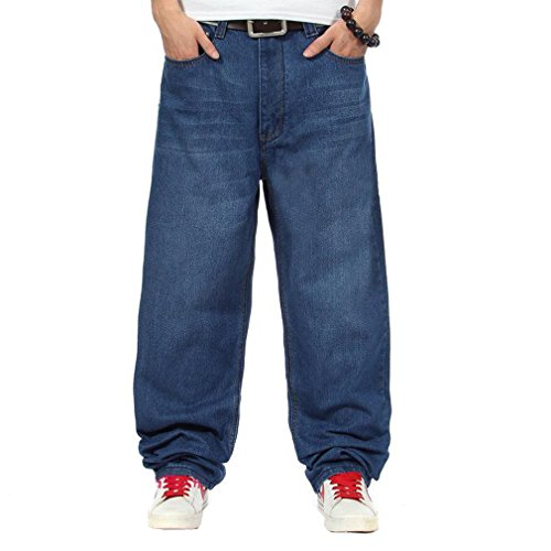 Easy Men'S Casual Cool Hip-Hop Punk Floral Baggy Denim Long Pants 38 Dark Blue