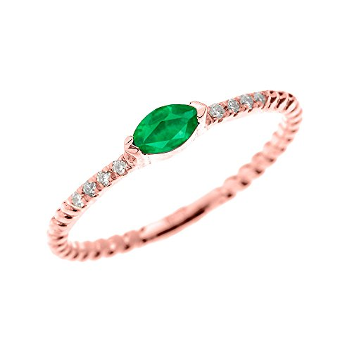 10k Rose Gold Dainty Diamond and Marquise Emerald Rope Design Stackable/Proposal Ring