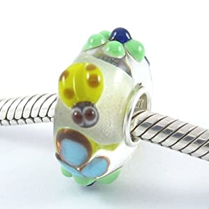 Cute Ladybug's Flying Between the Daisy Flowers Murano Glass Bead Charm with Solid Sterling Silver Single Tube