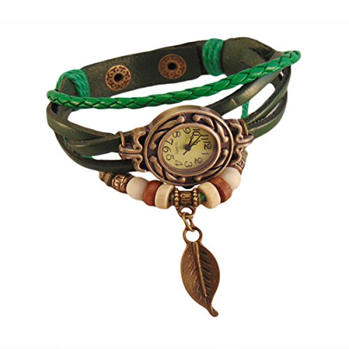 Crystal Collections Multiband Green Bracelet With Leaf Charm analog brown dial women'd watch-AW80c-1AC