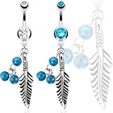 316L Steel Dream Catcher Feather with Blue Turquoise Semi Precious Stone Beads Navel Ring; Comes With Free Gift Box