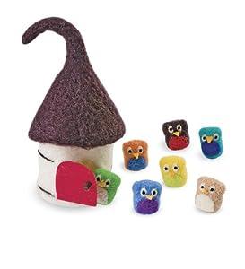 Wool Felt Owls and House Set