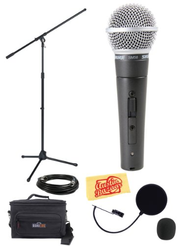 Shure Sm58S Vocal Microphone With On/Off Switch Bundle With Boom Stand, Gear Bag, Pop Filter, Xlr Cable, Mic Clip, Windscreen, And Polishing Cloth