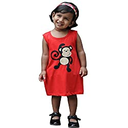 Snowflakes Girls' Red Frock With Monkey Print