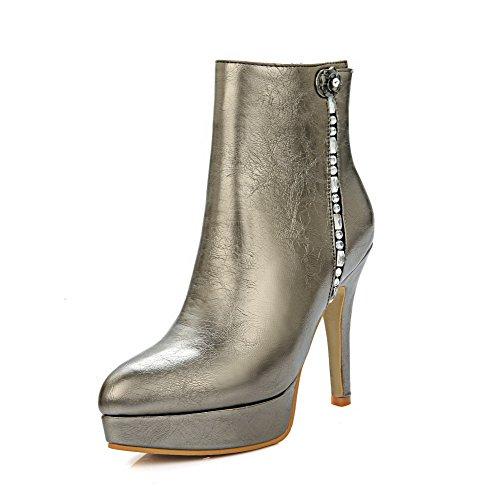 VogueZone009 Donna Tacco Alto Chiodato Scarpe A Punta Cerniera Stivali con Metallo, Oro, 41