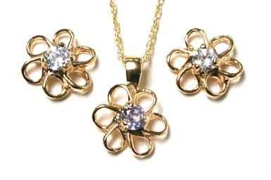 9ct Gold Lilac Cubic Zirconia Daisy Pendant and Earring set.