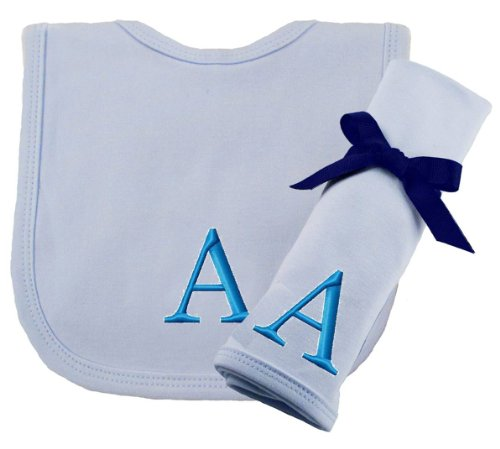 Princess Linens Embroidered Blue Initial Cotton Knit Bib and Burp Cloth Set, A