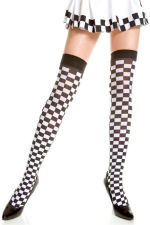 Fancy Checkered Opaque Thigh High Stockings