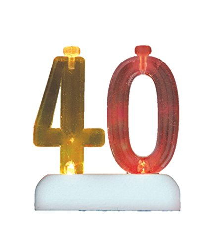 Flashing Number 40 Cake Topper & Birthday Candle Set, 5pc - 1