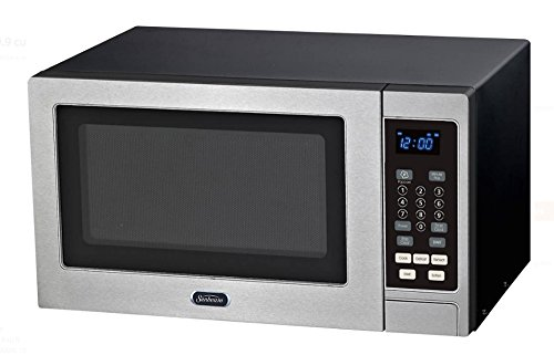 Sunbeam 0.9 Cu Ft Digital Compact Countertop Microwave Oven - Small Footprint - Stainless Steel Face - 900 Watts - 19.00