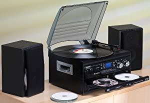 Steepletone SMC595 Black - NOSTALGIA RETRO 5-IN-1 MUSIC SYSTEM WITH CD BURNER/ Vinyl to CD, CD to CD, Cassette to CD, Radio to CD & Aux to CD! (Record your CD's, cassettes and vinyl records onto a blank CD)