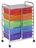 ECR4Kids 15-Drawer Mobile Organizer, Assorted Colors