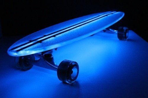 "Flexdex Blue Light Up Led Transparent 29"" Skateboard"
