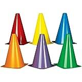 """Plastic Traffic Cones. Assorted Colors (12 Pack) 8 1/2"""". Plastic."""
