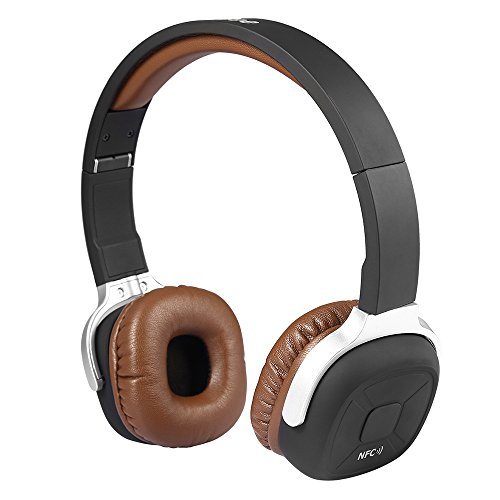 AIKAQI ワイヤレスヘッドホン 密閉型 NFC搭載 Bluetooth 4.1ヘッドホン 歩数計機能 軽量 マイク内蔵 ハンズフリー通話 折りたたみ 有線と無線両用 ステレオヘッドセット NB-9 ブラウン