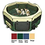 Large Portable Soft Pet Soft Side Play Pen or Kennel for Dog, Cat, or other small pets. Great for Indoor and Outdoor (Dark Blue)