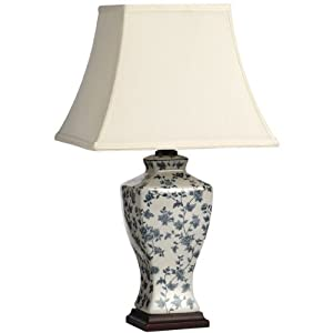 Large Blue And White Floral Patterned Ceramic Table Lamp H1266 Vintage Style Perfect For All