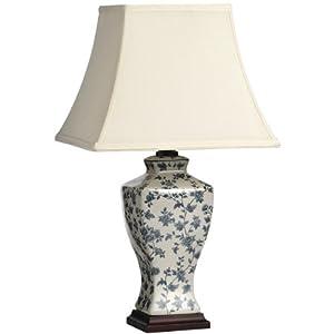 large blue and white floral patterned ceramic table lamp. Black Bedroom Furniture Sets. Home Design Ideas