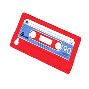 Unique Retro Cassette Tape Shell Cover Case for iPhone 4 4S 4G Gel Silicone red