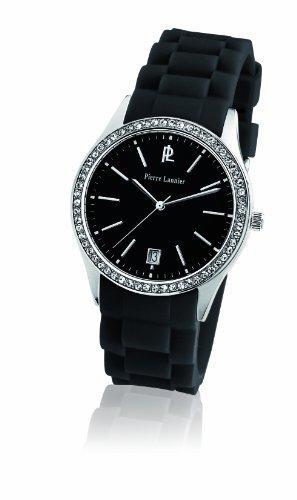 Pierre Lannier - 025L639 - Montre Femme - Quartz Analogique - Cadran Noir - Bracelet Silicone Noir - Strass
