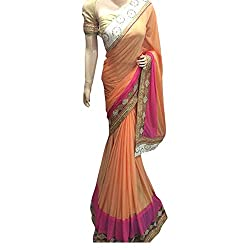 Peach Designer Lykra With Embroidered Lace Saree.