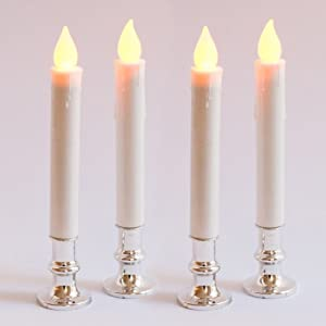 Set of 4 Extra Bright Flameless Taper Candles - Auto Timer and Removeable Base - Silver