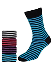 4 Pairs of Autograph Space-Dye Striped Socks with Modal