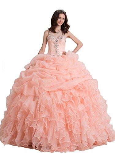 Broybuy-Mujer-Cuentas-Straps-Rhinestones-Ruffled-Ball-Gown-Vestidos-de-Quinceaera