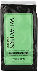 Weaver's Coffee and Tea Decaf House Blend, Whole Bean, 12-Ounce Bags (Pack of 2)