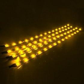 "HAMIST 4pcs LED Car Auto Flexible Waterproof Light Strip 11.8"" 30cm Yellow"