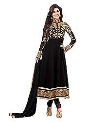 Starword Beautiful Heavy Kriti black Semi stiched Dress Material High Qualitty