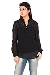 Liwa Black Polyester Tunic For Women