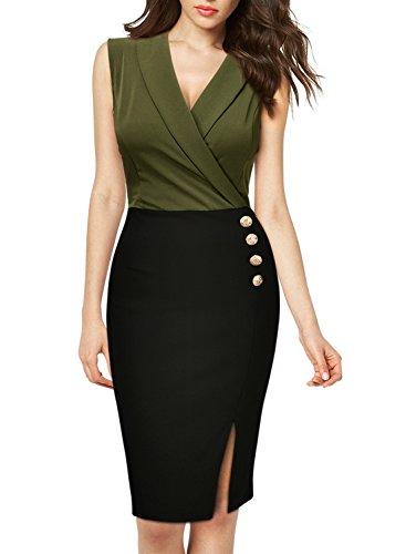 Missmay-Womens-Workwear-Business-Lapel-Sleeveless-Cocktail-Party-Pencil-Dress