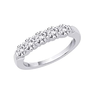 5-Stone Diamond Band in 14K White Gold (1/2 cttw)