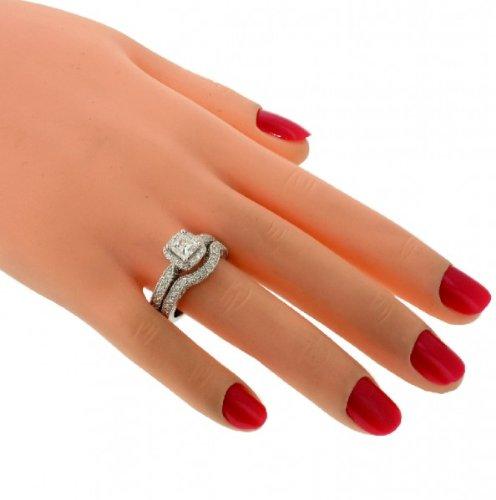 2 00 CT TW Halo Designer Princess Cut Diamond Engagement Bridal Set in 14k Wh