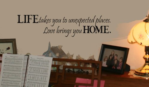 Wall Décor Plus More WDPM130 Life Takes Us Love Brings Us Home Wall Vinyl Sticker Quote, 6 x 24-Inch, Black