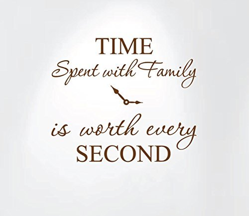 Innovative Stencils 1249 brown Time Spent with Family is Worth Every Second Home Wall Decal Sticker Clock (Brown Decal Wall Stickers compare prices)
