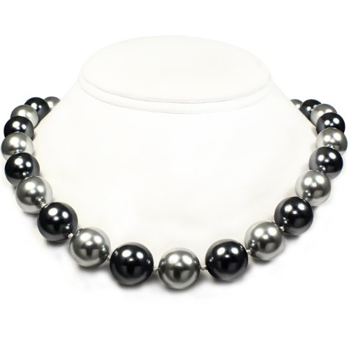 Mother of Pearl Necklace - High Polished Silver & Dark Gray (14mm)