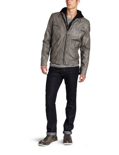 Calvin Klein Men's Faux Leather Moto Jacket With Hoodie, Gray, Large