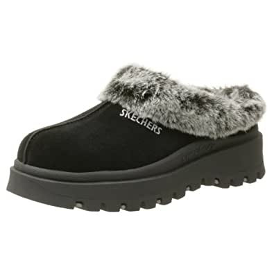 Skechers Women's Fortress Clog Slipper,Black,5M US