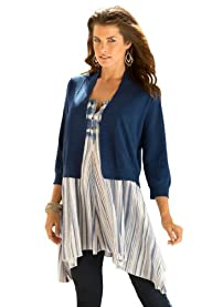Women's Plus Size Curvy Cropped Cardigan