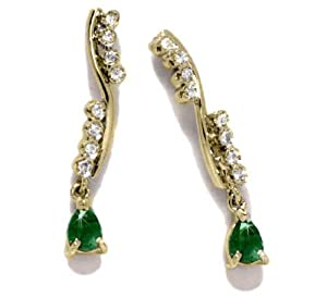 Gioie Boucles d'Oreilles Femme en Or 18 carats Jaune avec Emeraude et Diamant H/SI, 3 Grammes