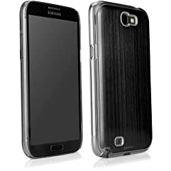 BoxWave Minimus Brushed Aluminum Samsung Galaxy Note 2 Case - Ultra Low Profile, Slim Fit Premium Quality Snap Shell Cover with Polished Brushed Aluminum Back Cover - Samsung Galaxy Note 2 Cases and Covers (Jet Black)