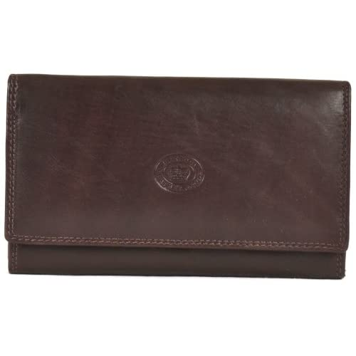 London Leather  Ladies Soft Real Nappa Leather Long Flap-over Purse with Inner Flap pockets (Lilac   Dark Brown...