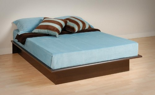 Queen Size Platform Bed Contemporary Style in Espresso Finish