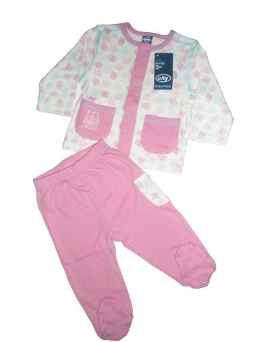 Manchester City Football Club Baby Girls 2 Piece Pyjama Top and Trouser Set with Feet (Pink, 0 to 3 Months)