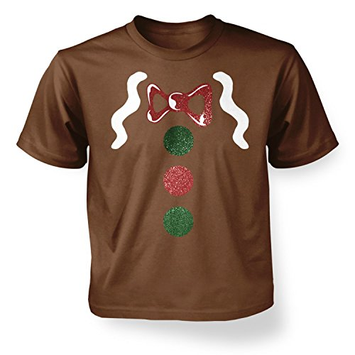 Gingerbread Man Costume (Deluxe) Kids T-shirt - Chestnut 9-11 Years