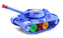 Colorful Camo Battle Army Battery Operated Bump and Go Toy Tank w/ Flashing Lights, Sounds