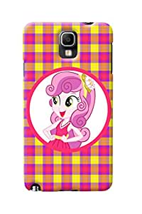 Fuson Pink Yellow Check Pattern Girl Back Case Cover for SAMSUNG GALAXY NOTE 3 NEO - D4115